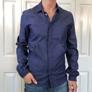 Kris Van Assche Blue Pouch Pocket Shirt 46